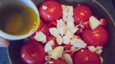 Gaspacho tomate, poivron et son croustillant (12)