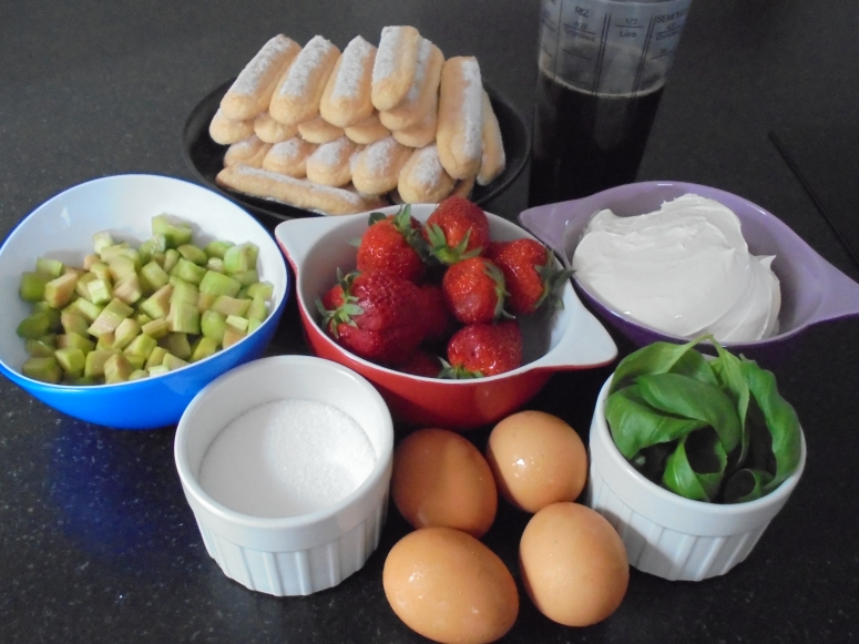 Tiramisu, fraises, rhubarbes et basilics (10)